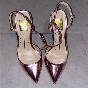 Pink chrome pointy heels